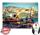 "Luxlady Natural Rubber Mouse Pad/Mat with Stitched Edges 9.8"" x 7.9"" IMAGE ID: 34505938 Excavator machine on site in vintage style"