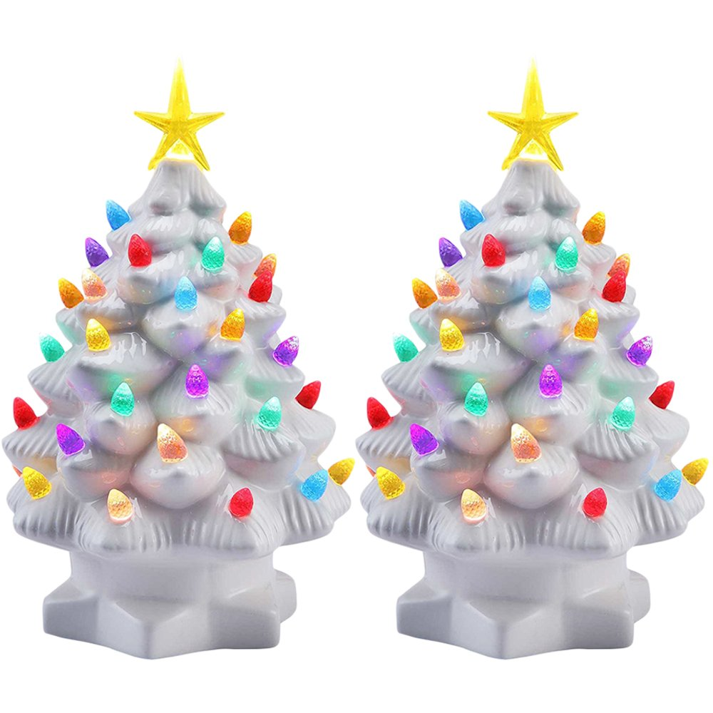 "Amazon.com: Mr. Christmas (2 Pack 7"" Porcelain Christmas Tree ..."