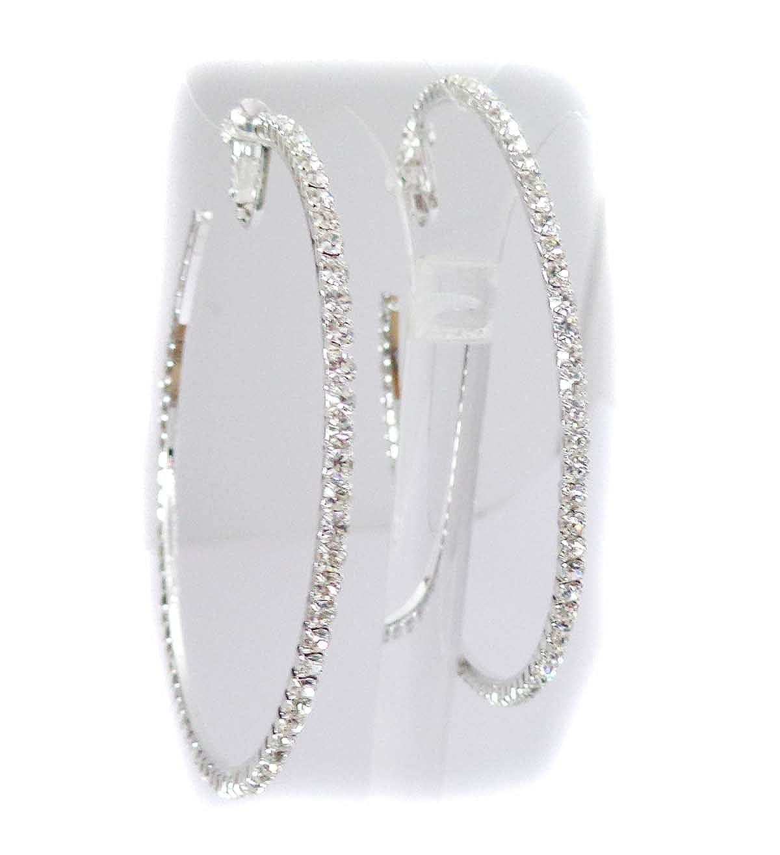 Clip-on Earrings Silver Tone Crystal Rhinestone Hoop Earrings 3 inch Hoop Earrings NA