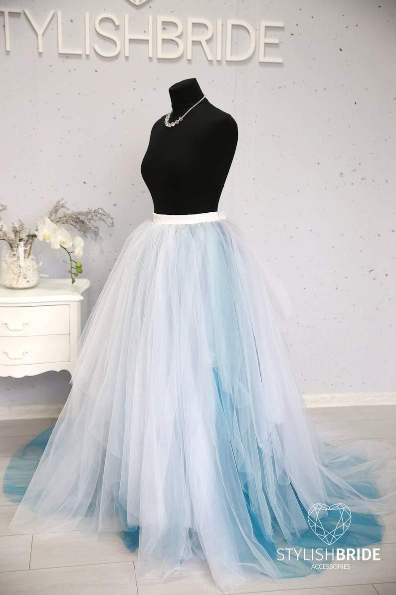 Amazon Com Dusty Blue White Magic Ombre Wedding Tulle Dress