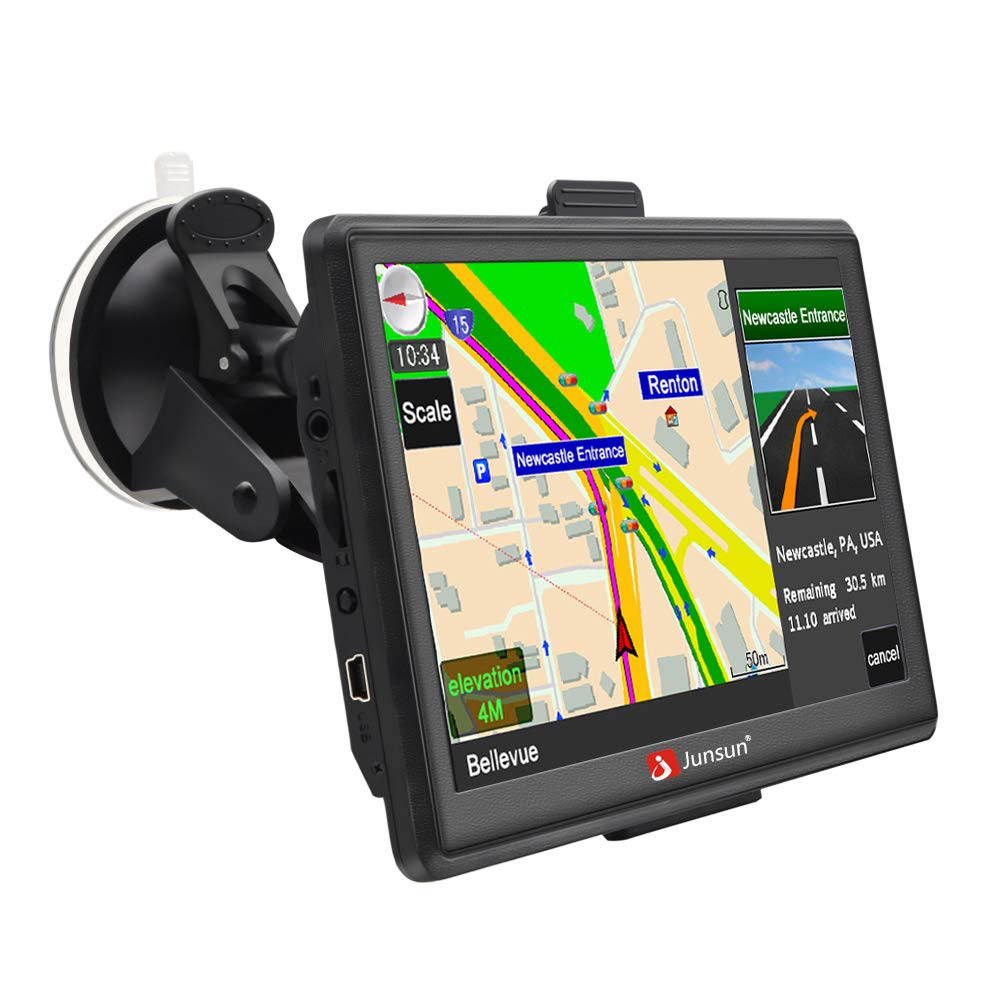 GPS Navigation for Car 7 Inch Windows CE 6.0 Capacitive Touch Screen Vehicle GPS Navigator with Lifetime Map Updates Junsun