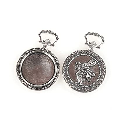 10pcs 20mm Vintage Silver Round Cameo Cabochon Pendant Setting Blanks Tray