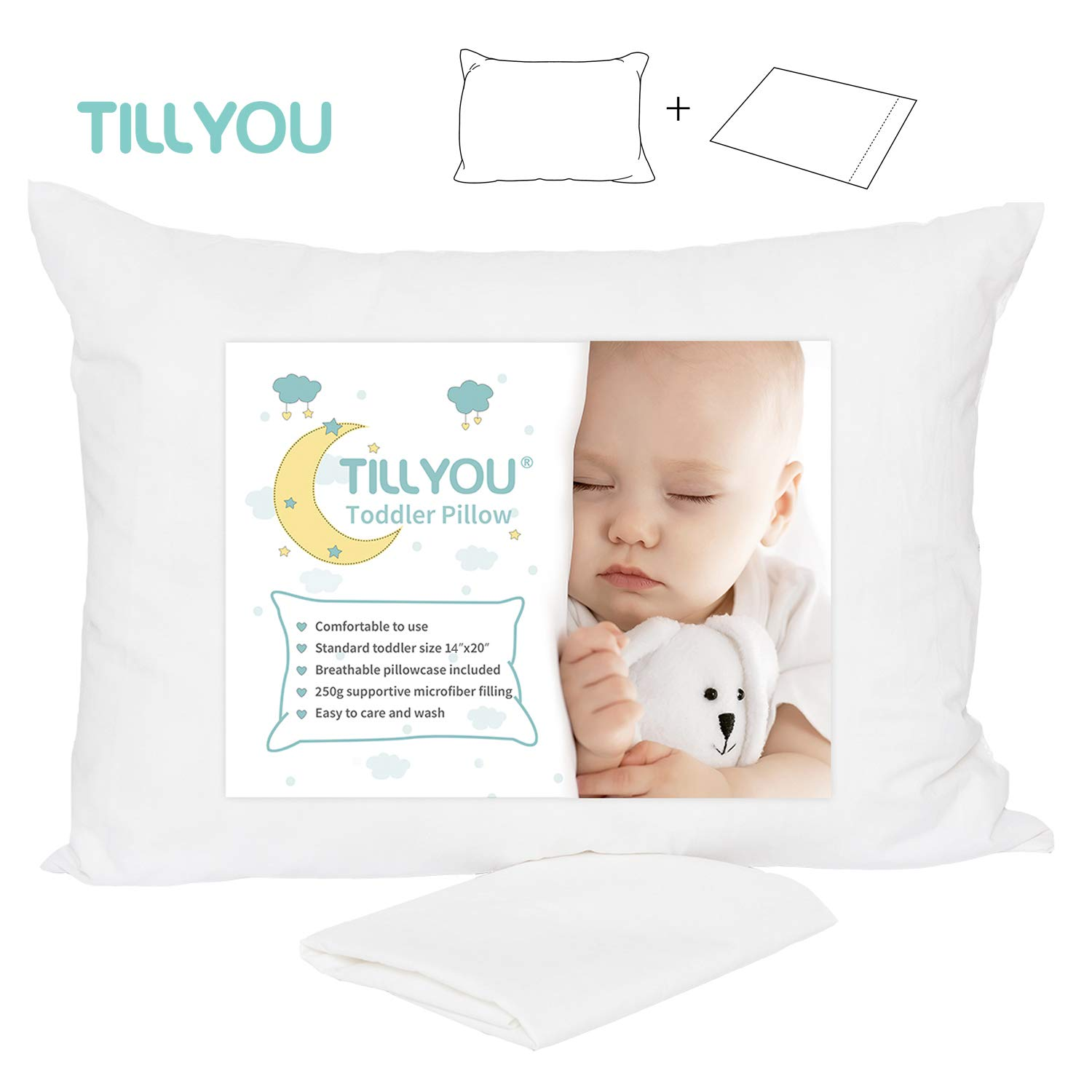 Toddler Pillow with Pillowcase – 100% Egyptian Cotton Baby Pillow for Sleeping – Machine Washable Kids Pillow for Preschool – Small Pillow for Toddler Nap Cot, Airplane Travel, Bed, Crib 13X18 White