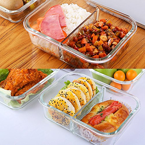 food containers glass lunch containers 100 bpa free airtight leak proof 2 with lids safe for microwave oven freezer dishwasher 1040ml