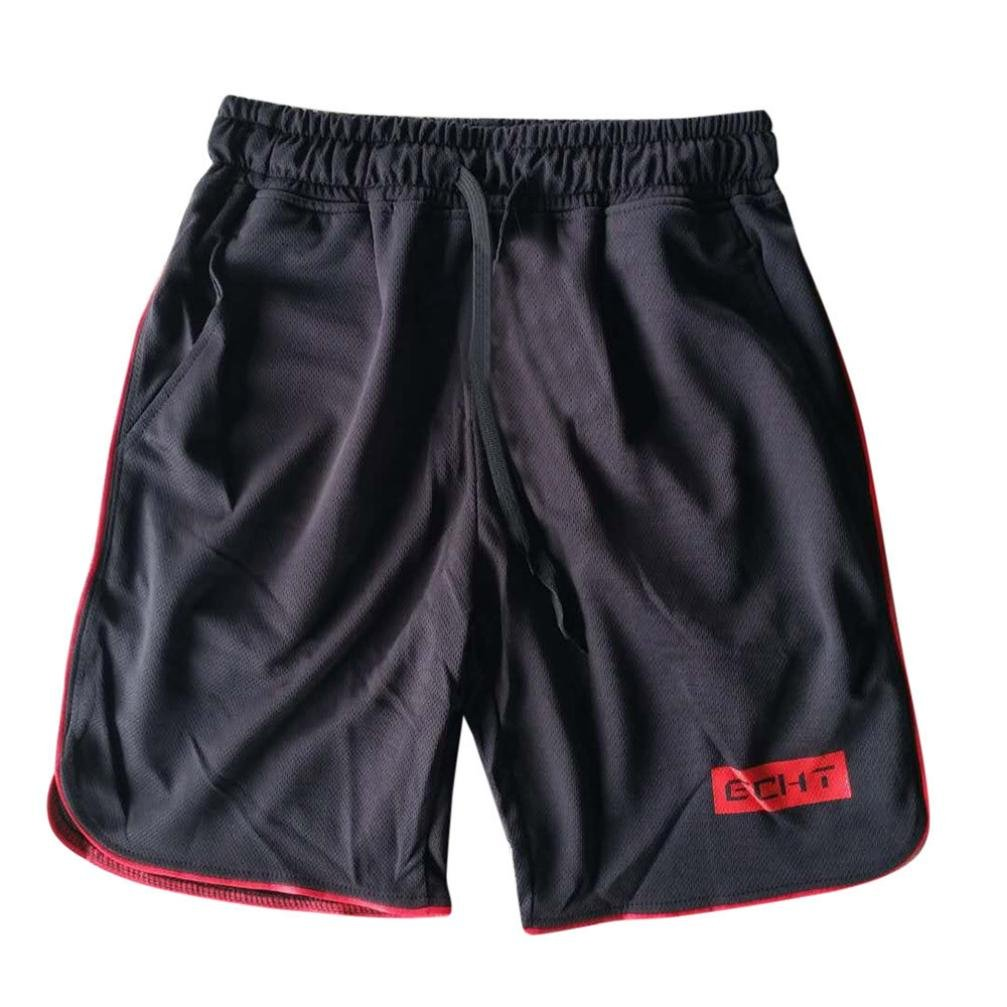 Binmer Clearance Sale Men's Sports Training Bodybuilding Summer Shorts Workout Fitness Gym Short Pants (M, Red)