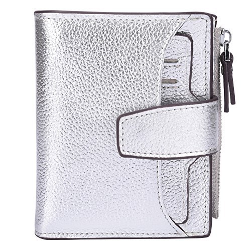 (AINIMOER Women's RFID Blocking Leather Small Compact Bi-fold Zipper Pocket Wallet Card Case Purse (Lichee Silver))
