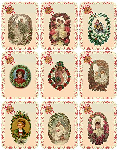 (Victorian Images Vintage Christmas Graphics Collage Sheet, Digital Scrapbooking, Prints, ATC, Gift Tags 8.5 x)