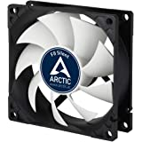 ARCTIC F8 Silent - 80 mm Case Fan, Extra Quiet Motor, Computer, Almost inaudible, Push- or Pull Configuration, Fan Speed: 1200 RPM - Black/White