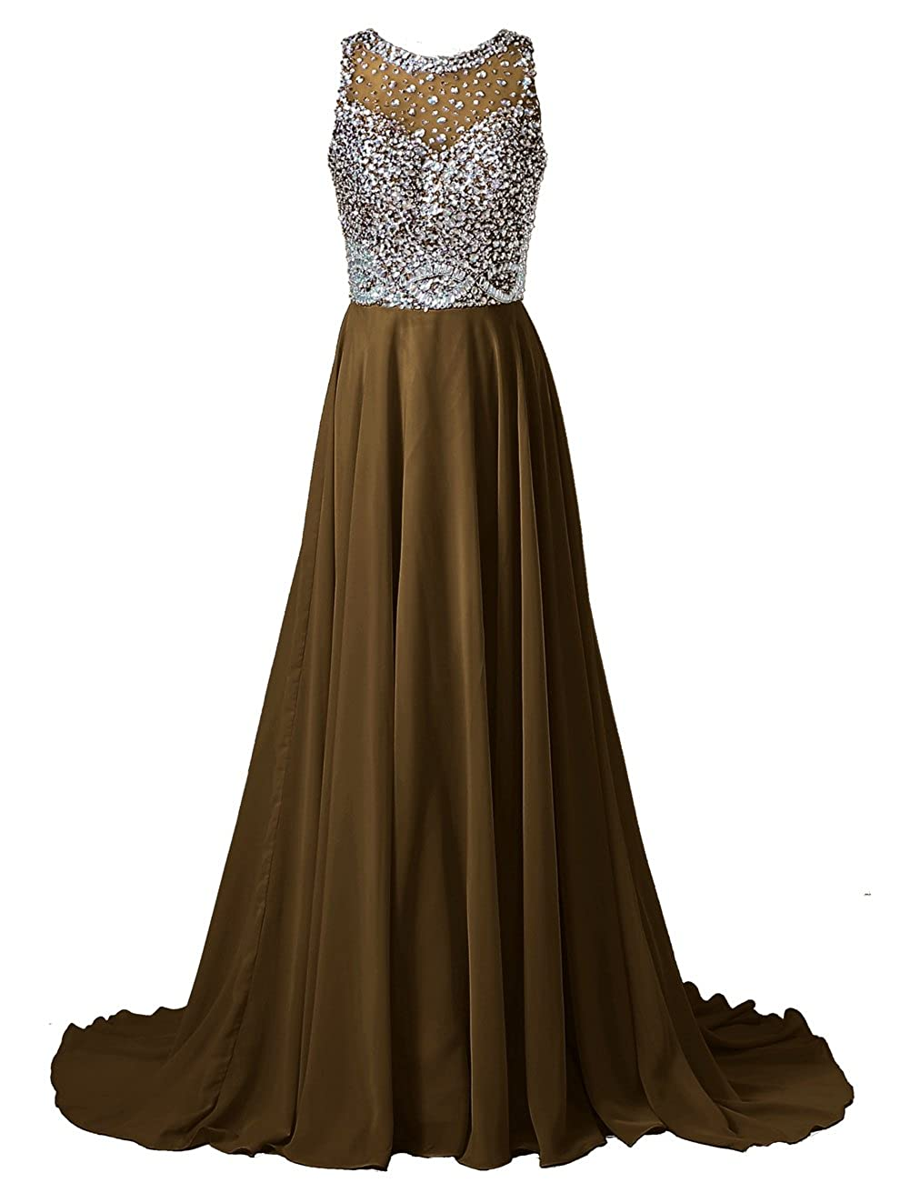 a40292c4c4b5 Callmelady Chiffon Long Prom Dresses With High Neck   Beaded Mesh Bodice  (31 Colors) CML2