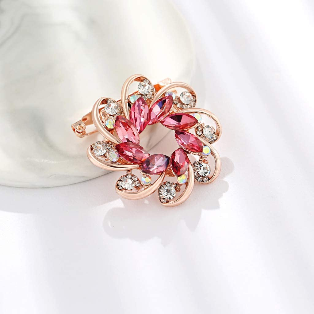 LLguz Brooch Buckle Pin,Floral Crystal Brooches Enamel Brooch Badges Breastpin Jewelry Clothes Costume Decoration for Ladies Women Mom Gifts Party