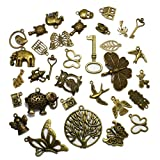 About 100 Pcs Mixed Antique Bronze Pendants 4 Ounce, Birds, Butterflies, Cross, Elephants for Jewelry and Charm Making