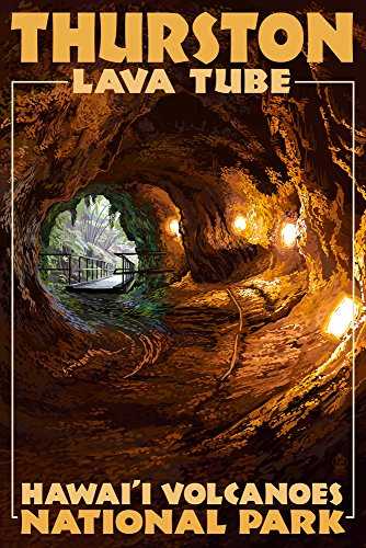 Hawaii Volcanoes National Park - Thurston Lava Tube (24x36 SIGNED Print Master Giclee Print w/ Certificate of Authenticity - Wall Decor Travel Poster) by Lantern Press