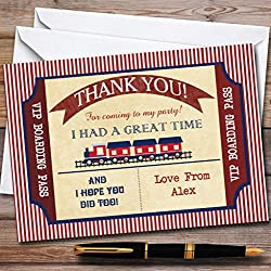Red & Blue Boarding Pass Train Party Thank You Cards