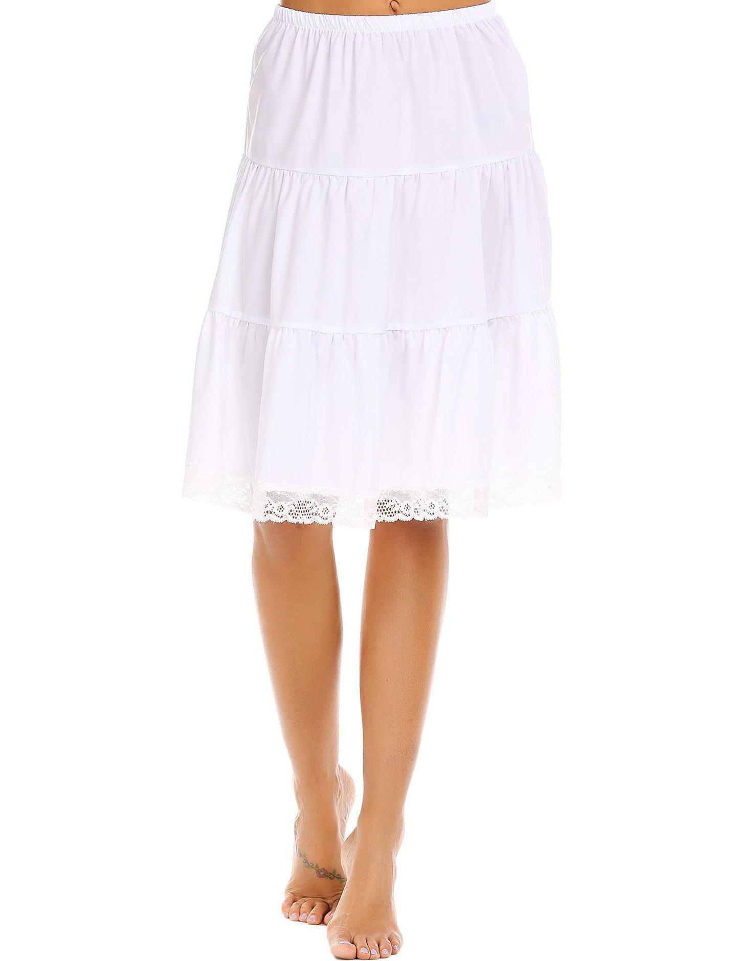 Aimado White High Waist Skirt for Women Knee Length Lace Trim Patchwork Skirt(White,Medium)