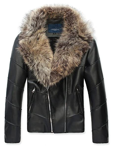 10dca17e797 Ouye Men's Winter Fur Collar Faux Leather Short Jacket