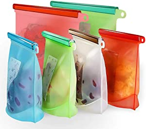 Reusable Silicone Food Storage Bags, QoQiu Combination Upgrade Bags 6 Pack (4 x 1L/33oz + 2 x 2L/66oz), Microwave & Dishwasher Safe Eco-Friendly,for Vegetable, Fruit, Sandwich, Snack,Lunch Bags