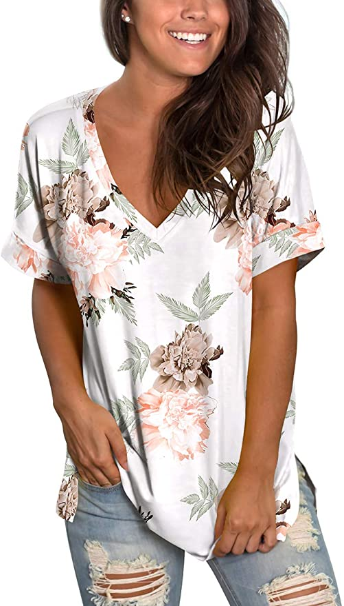 SAMPEEL Womens Floral Tops Short Sleeve V Neck Tee T Shirt Printed Side Split Tunic   Amazon