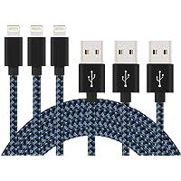 UPA, Cable USB para iPhone, 1.8 Metros de Nailon Trenzado, 3 Unidades (Negro/Azul)