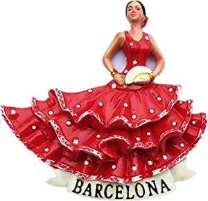 Flamenco Dancer,Barcelona Spain Resin 3d Strong Fridge Magnet Souvenir Tourist Gift Chinese Magnet Hand Made Craft Creative Home and Kitchen Decoration Magnetic Sticker