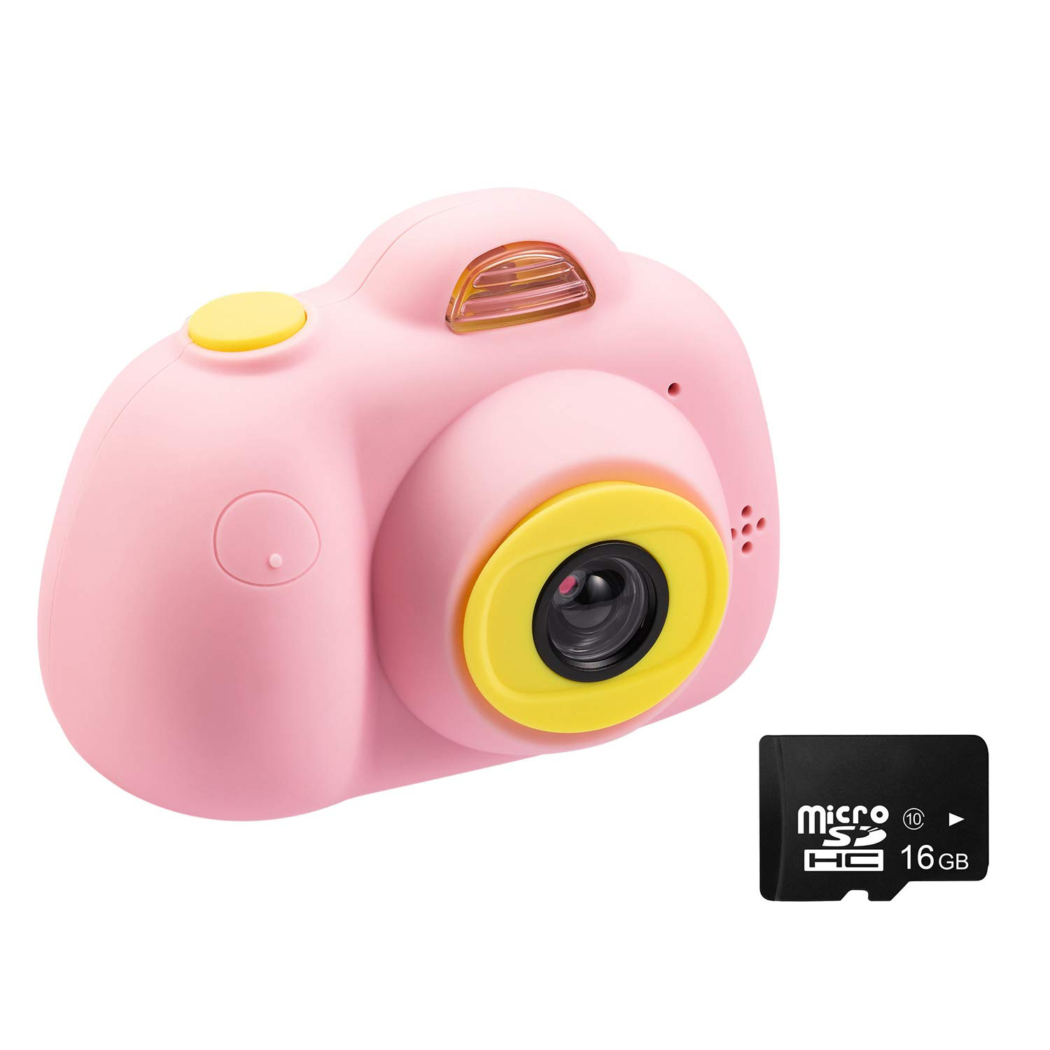 Abdtech Kids Camera Video Cameras Gifts for Girls, Mini Rechargeable Children Shockproof Digital Camcorders Little Girl Toys Gift 8MP with Battery 2 Inch Screen 16GB SD Card ( Pink ) by Abdtech (Image #1)