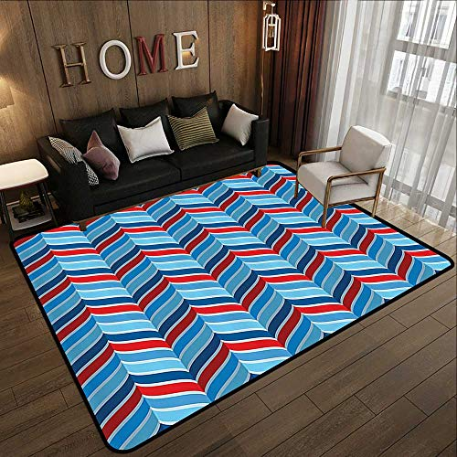 Kitchen Floor mats,Geometric Decor Collection,Abstract Pattern Braid Chevron Joyful Curvy Ogee Classical Shape Symmetry Design,Navy Blue Re 71
