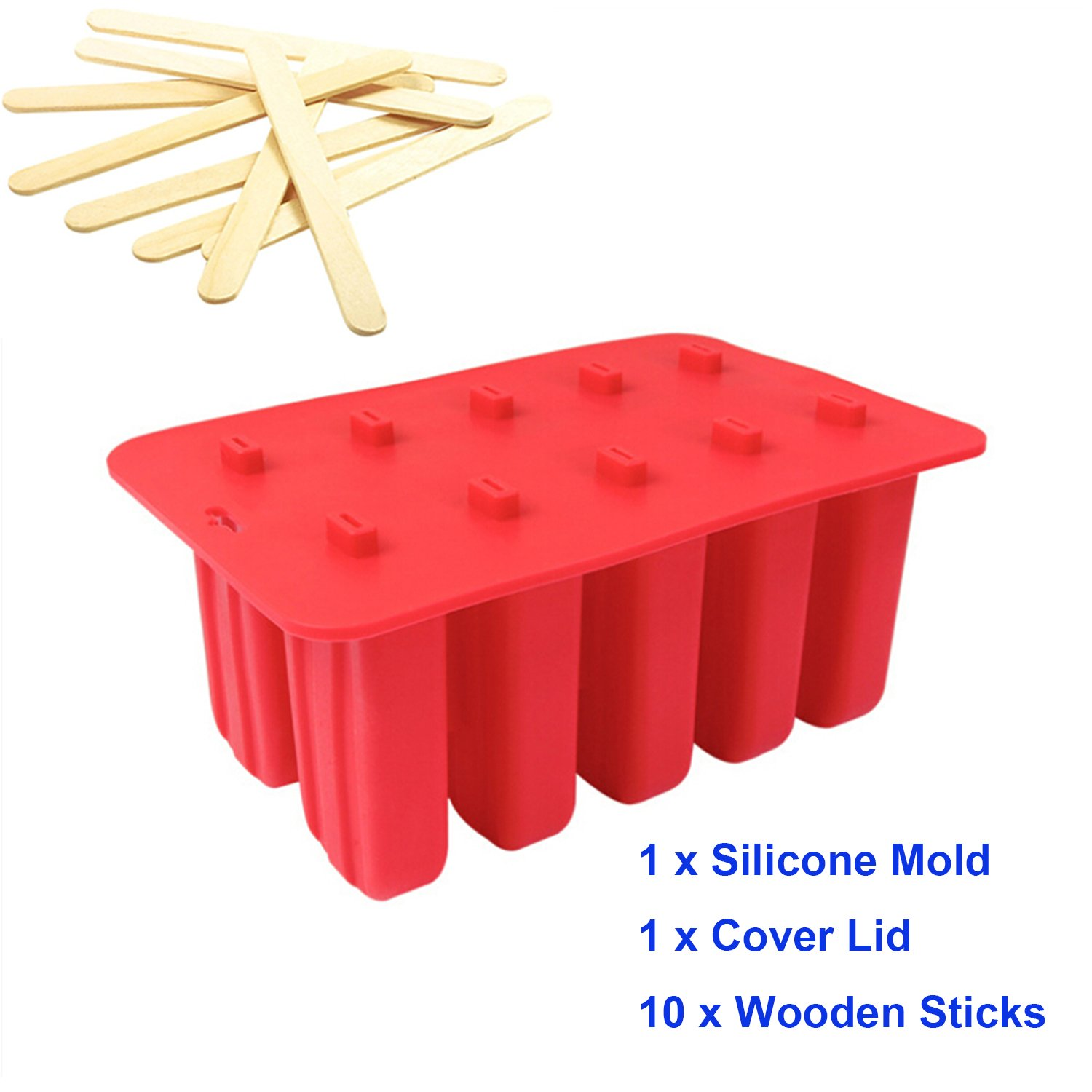 10 Cavity Slicone Frozen Ice Cream Pop Maker Popsicle Molds with Cover Lid +10 Wooden Sticks for Toddlers, Kids and Adults - BPA Free (White)