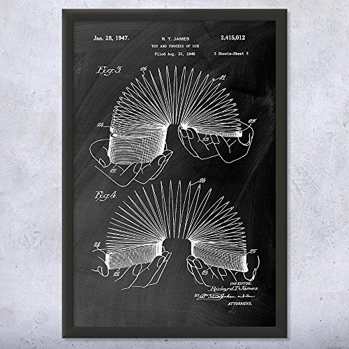 Slinky Collector (Patent Earth Framed Slinky Toy Print, Vintage Toys, Engineer Gift, Spring Toy, Toy Story, Retro Toys, Toy Collector, Collectible Toys Chalkboard (Black) (8