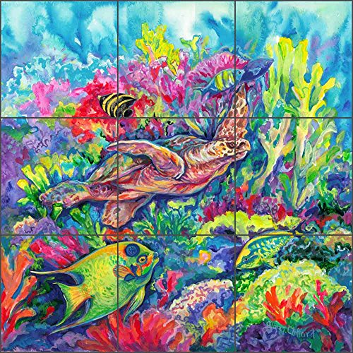 - Sea Life Art Tile Mural Backsplash Tropical Reef Loggerhead Turtle by Gloria Clifford Ceramic Kitchen Shower Bathroom (18