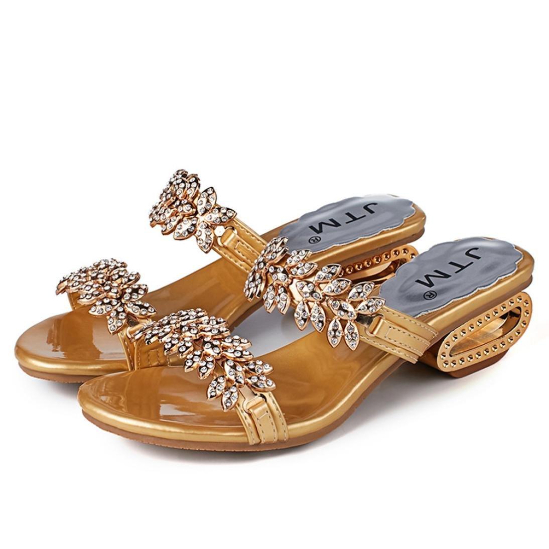 Sandali Donna,Witsaye Eleganti Estivi Donna Pantofole Ciabatte Tacco Medio Pantofole Scarpe da Spiaggia Ragazze InfraditoOro