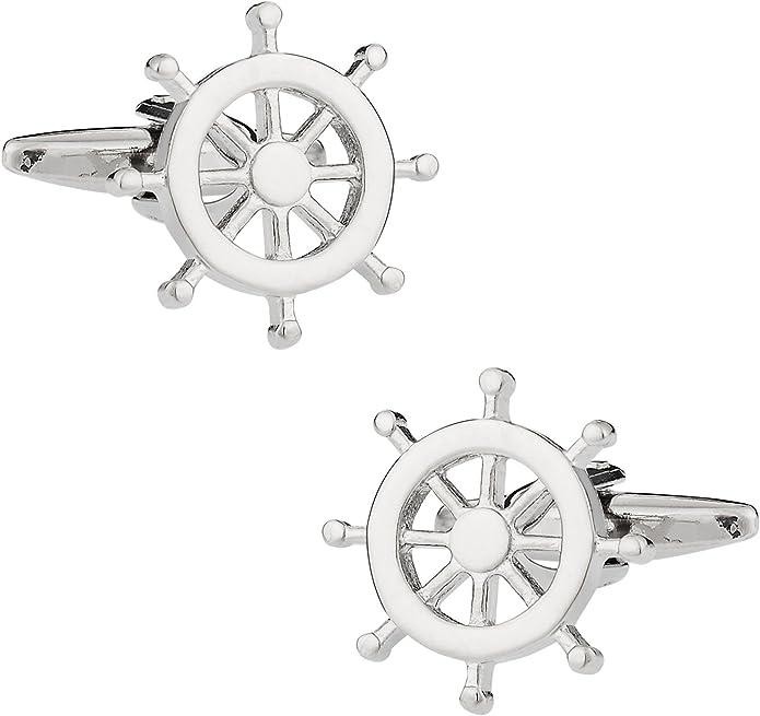 Captain Cuff Links Tie Tacks Groom Cufflinks Custom Wedding Cufflinks Ship Wheel Cufflinks Personalized Cufflinks Sailors Cufflinks