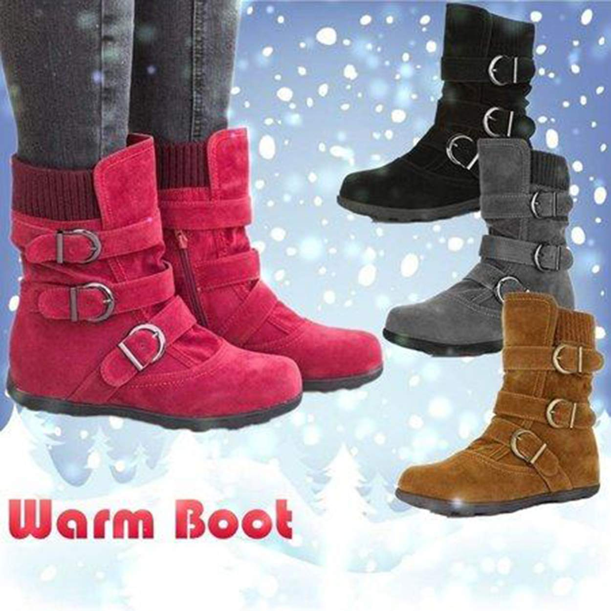 Susanny Ankle Boots for Women Warm Winter Zip Suede Booties Buckle Strappy Shoes Round Toe