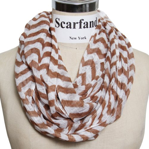 Scarfand's Chevron Print Infinity Scarf  - Brown Viscose Scarf Shopping Results