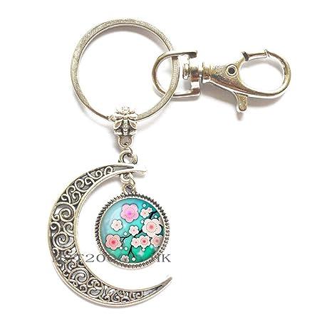 Amazon.com: Llavero con diseño de flor de cerezo y flor de ...