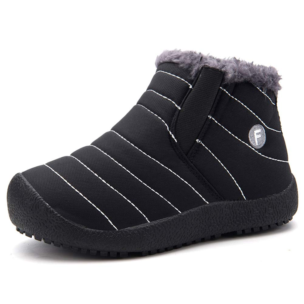 4dbc7ecb5 CIOR Boy's Girl's Snow Boots Fur Lined Winter Outdoor Slip On Shoes  Boots-T.black-28