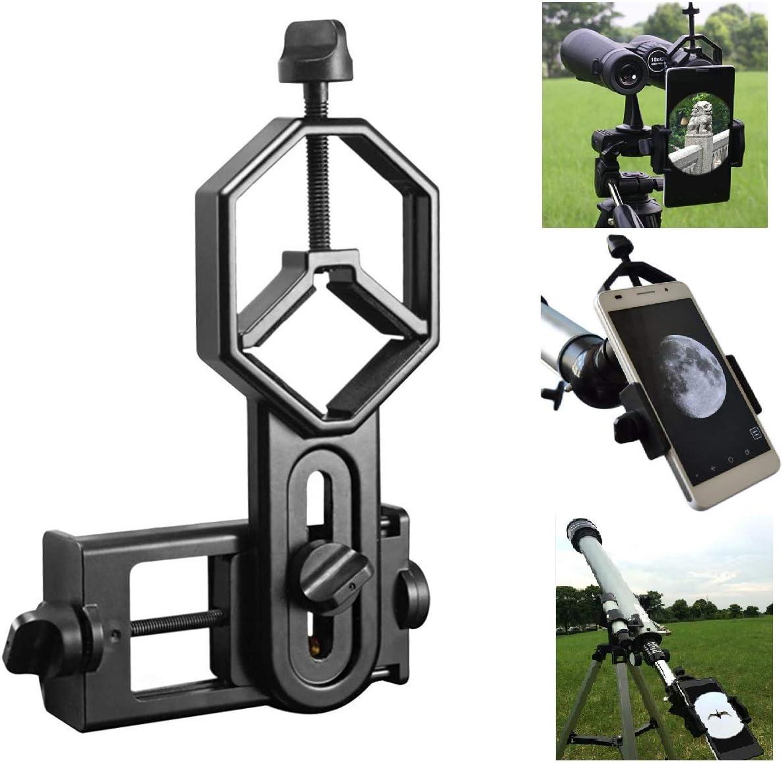 Shackcom Profesional Universal Teléfono Movil Soporte de Adaptador para Monoculares,Prismáticos,Microscopios,Telescopios Astronómicos,Telescopios Terrestres- Compatibles con Cualquier Smartphone