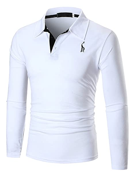 YCHENG Hombre Polo Manga Larga Moda Lujo Jirafa Bordado Contraste Collar Golf Camiseta Blanco M