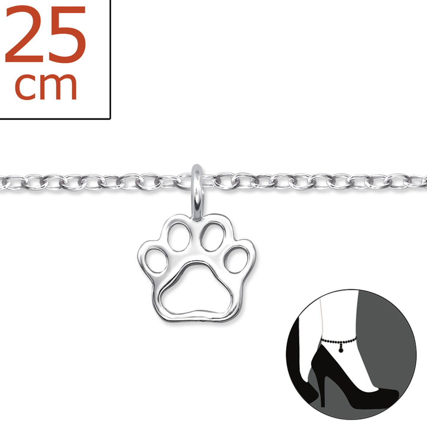 Best Wing Jewelry .925 Sterling Silver ''Tiny Paw Print'' Anklet Bracelet (Adjustable)