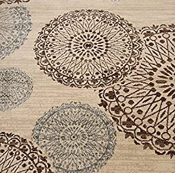 New City Contemporary Modern Flowers Circles Wool Area Rug, 5\'2 x 7\'3, Beige