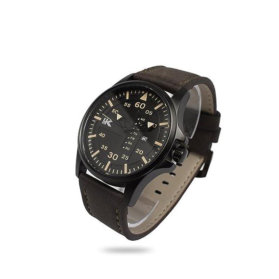 Reloj de pulsera para hombre UK caja metal Esfera Negro Correa sintética detalles marrón oscuro Fecha días analógica: Amazon.es: Relojes