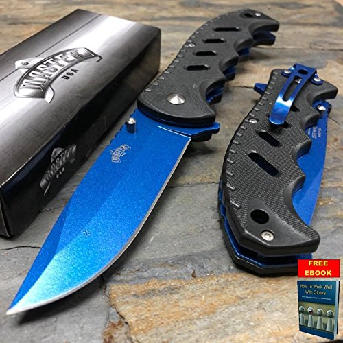 MASTER USA Spring Assisted Blue Coated Blade Black ABS Handle Pocket Knife + free eBook by OnlyUS (Butterfly Coated Knife)