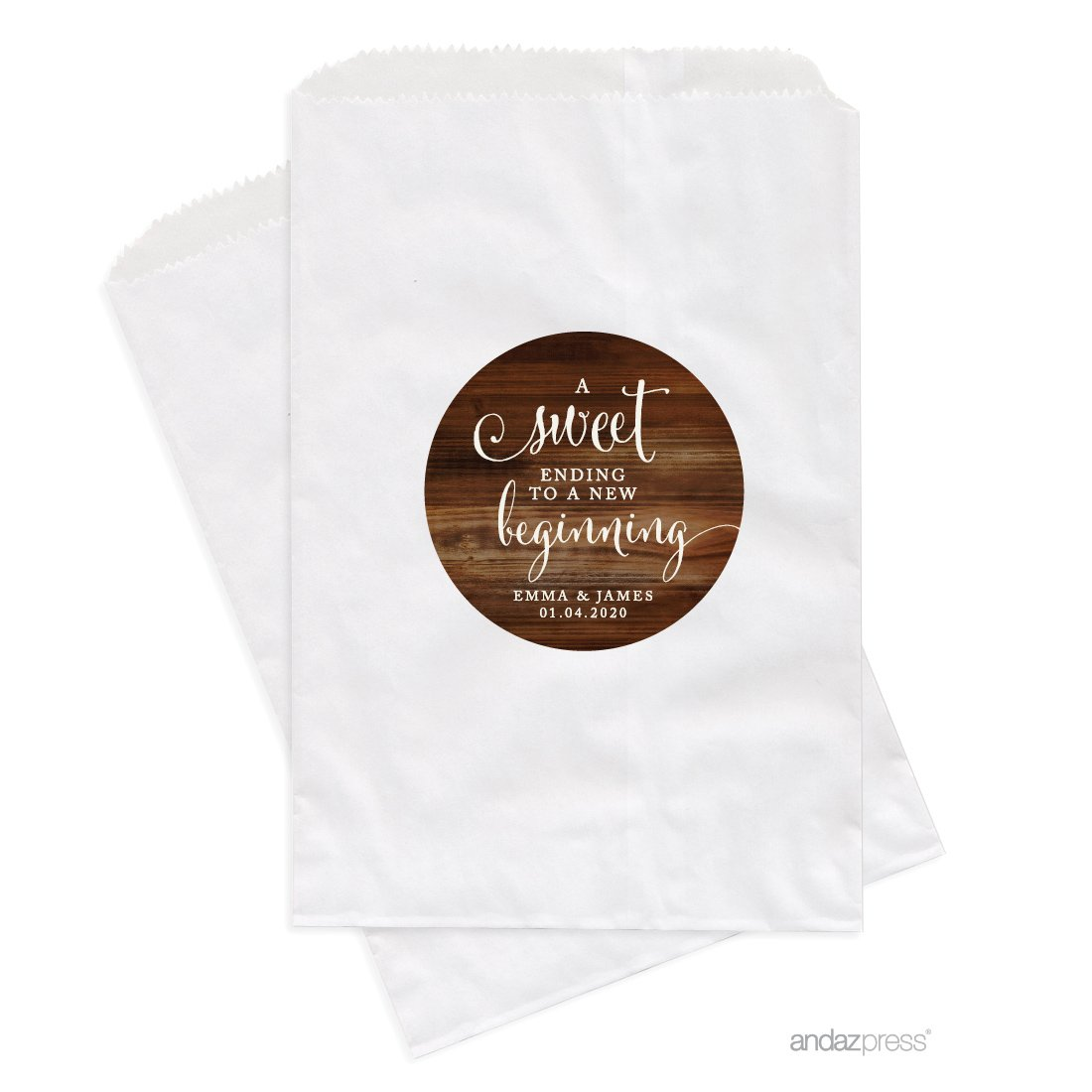 Andaz Press Personalized Dessert Table Party Favor Bags, A Sweet Ending to a New Beginning, Rustic Wood Print, 24-Pack, Custom For Wedding Baby Shower Graduation Candy Buffet Treat Bags