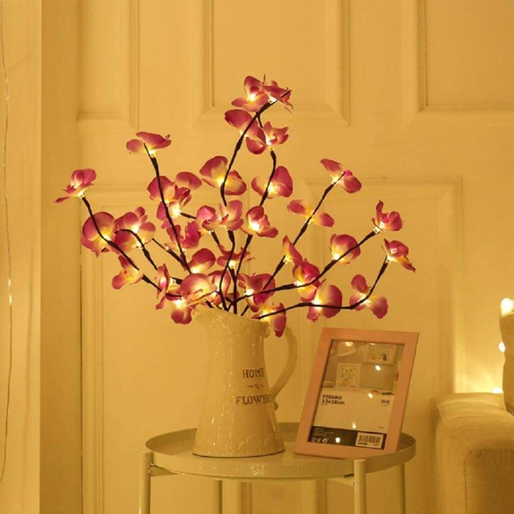 Amazon Com Sezrgiu Led Pink Phalaenopsis Branch Light Battery Operated Lighted Branch Artificial Floral Little Twig Power Brown 30 Inch 20 Led For Home Romantic Decoration Pink Phalaenopsis Branch Light Garden Outdoor
