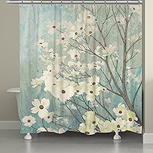 SUN-Shine Bathroom Flowering Dogwood Blossoms Shower Curtain Mildew and Waterproof Fabric Polyester with Hooks 66x72IN