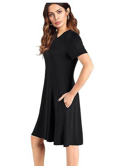 8a8863d3c3d0 imimimomo Women s Casual Plain Short Sleeve Fit Simple T-Shirt Loose Dress ( Black