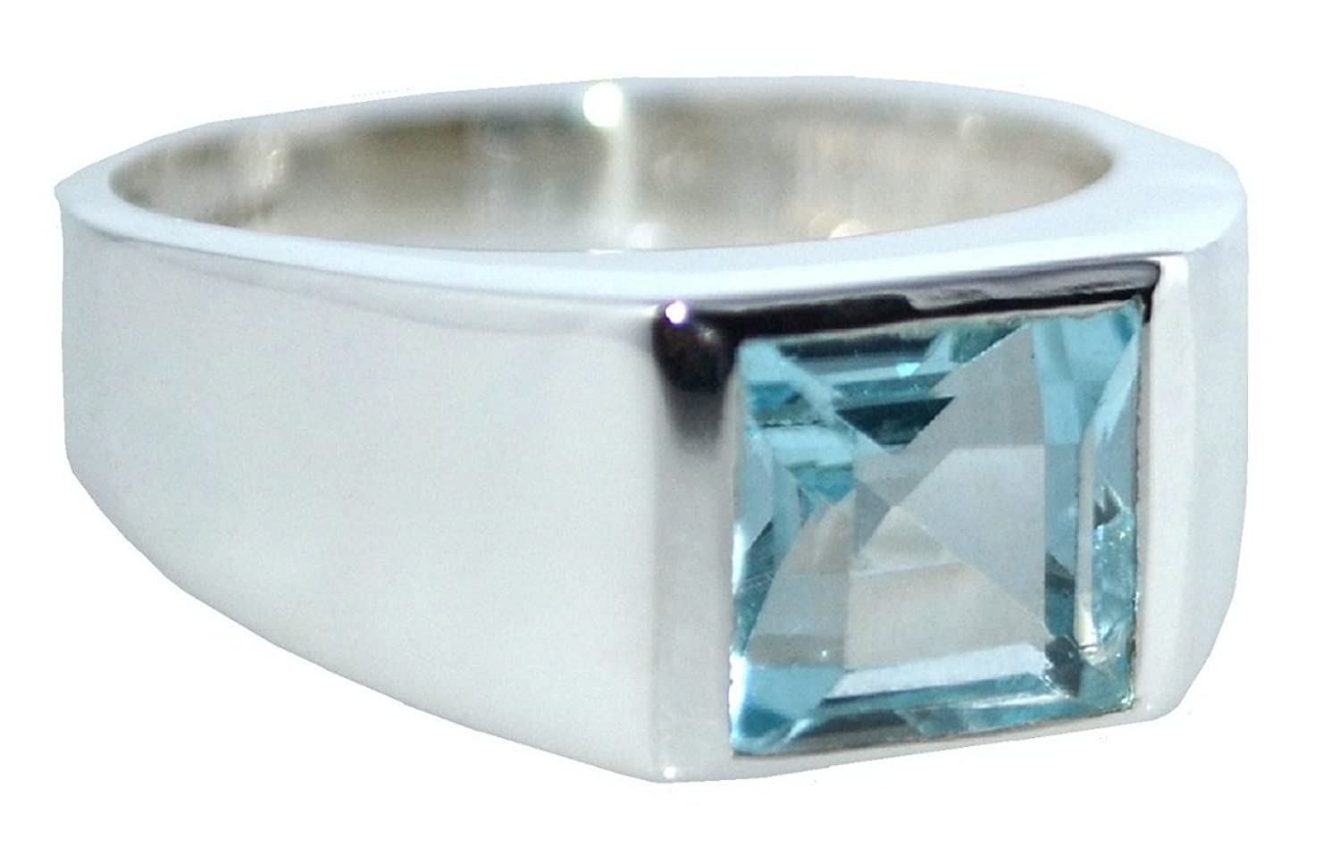 Sterling 925 Silver Blue Topaz Signet Mens Ring. Authentic Gemstone Gents Jewellery All Sizes N to Z+5 kPA1hdD
