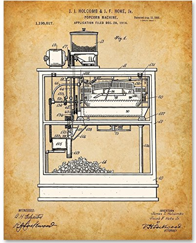 Popcorn Machine - 11x14 Unframed Patent Print - Great Home Theater Wall Decor