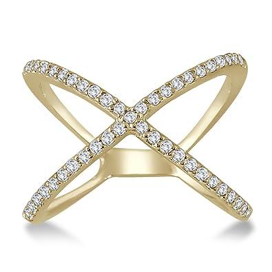 9370f420b8eb6 AGS Certified 1/2 Carat TW Diamond Criss Cross X Ring in 10K Yellow Gold