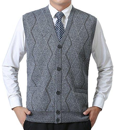 Button Front Sweater Vest (JOKHOO Men's Business Solid Button Knitwear Sweater Vest Sleeveless Knitted Waistcoat)