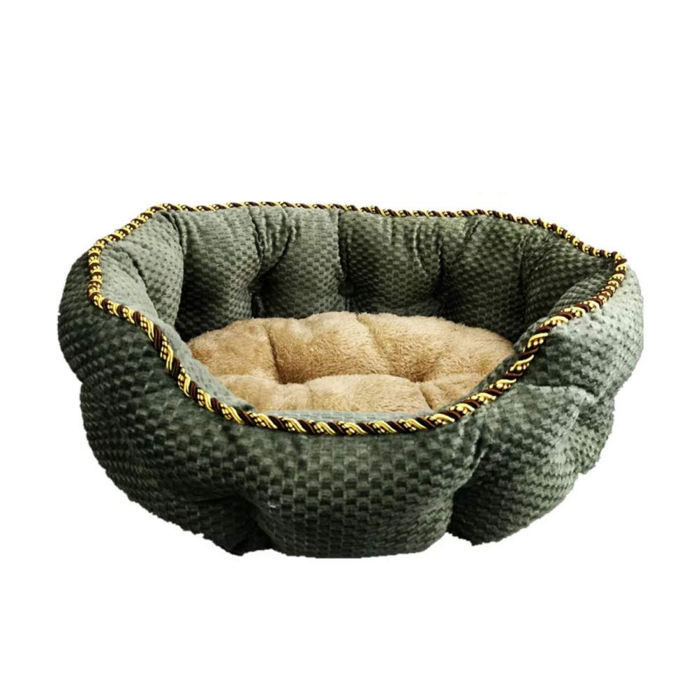 A MediumQJKai Flannel Round Pet Kennel Solid color Large Pet Dog Cage Indoor Folding Dog Bed