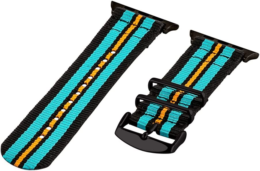 Clockwork Synergy - 42mm 2 Piece Classic NATO Nylon Watch Bands for Apple (Black & Turquoise Band/Black Hardware)